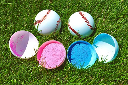 Gender Reveal baseballs by SpinMaster | Gender reveal ideas Baby shower themes Party games | Great way to reveal Baby Gender includes (2) Blue and Pink, Boy and Girl | More powder than others (Gender Reveal Party Game Ideas)