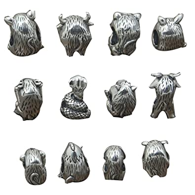 Chinese Zodiac Beads Sterling Silver For European Bracelet