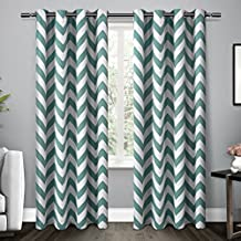 Exclusive Home Curtains Mars Woven Blackout Thermal Grommet Top Window Curtain Panel Pair, Teal, 52x84