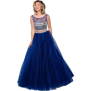 JVN by Jovani Womens 2PC Rhinestone Crop Top Dress - Blue - 8