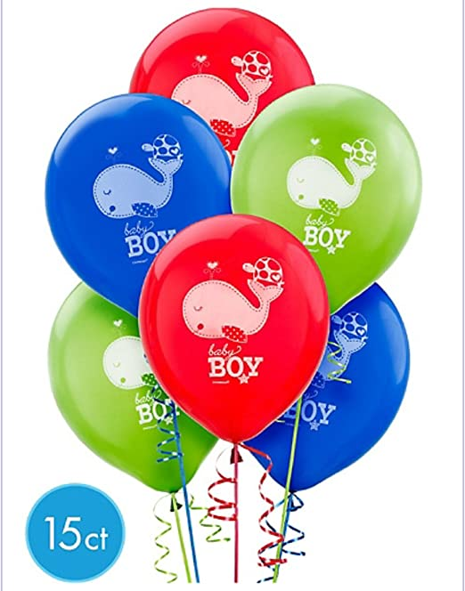 PACK OF 15 BABY SHOWER AHOY IT/'S A BOY BALLOONS PARTY DECORATIONS BLUE RED GREEN