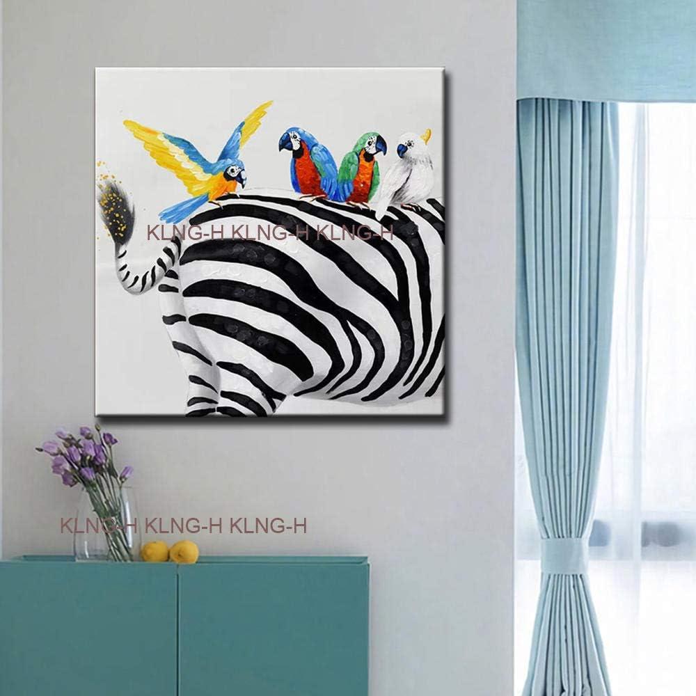 mmzki Pintura al óleo de Famosos nuevos lienzos Modernos Pintados a Mano Cuadros Pintura al óleo Loros Elefante Pintura Pared Animal Imagen para Sala de Estar Deco-Good_Q80cmx80cm_KH1