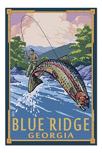 - Blue Ridge, Georgia - Angler Fly Fishing Scene (Leaping Trout) (20x30 Premium 1000 Piece Jigsaw Puzzle, Made in USA!)