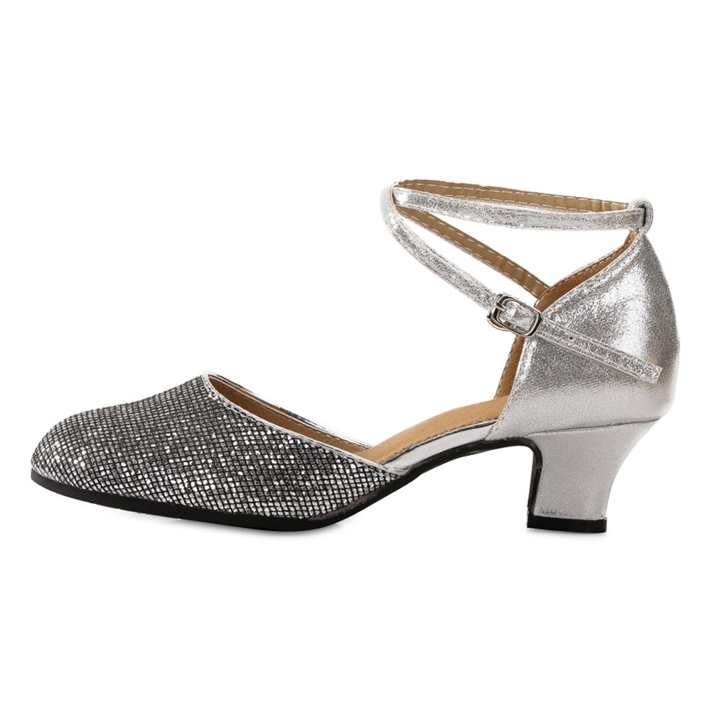OCHENTA Women's Mid Low Heel Salsa Tango Ballroom Latin Party Dance Shoes Outdoor Black Silver 3.5CM Tag 37 - US 7