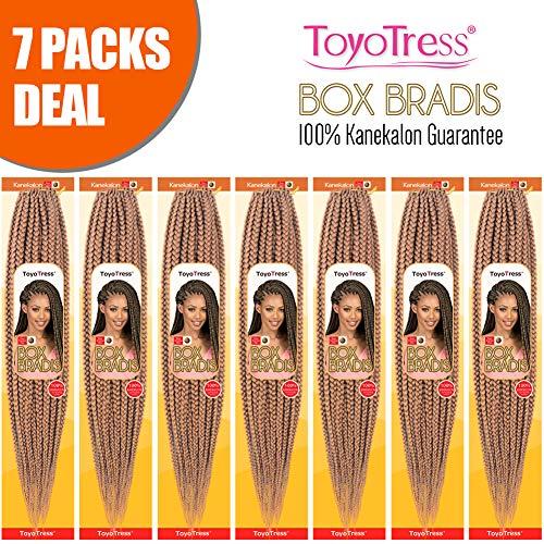 ToyoTress 7Packs/Lot 18Inch Box Braids Crochet Hair 100% Kanekalon Crochet Box Braids Hair Synthetic Hair Braiding Hair Extensions For Black Women(18 Inch,#27)