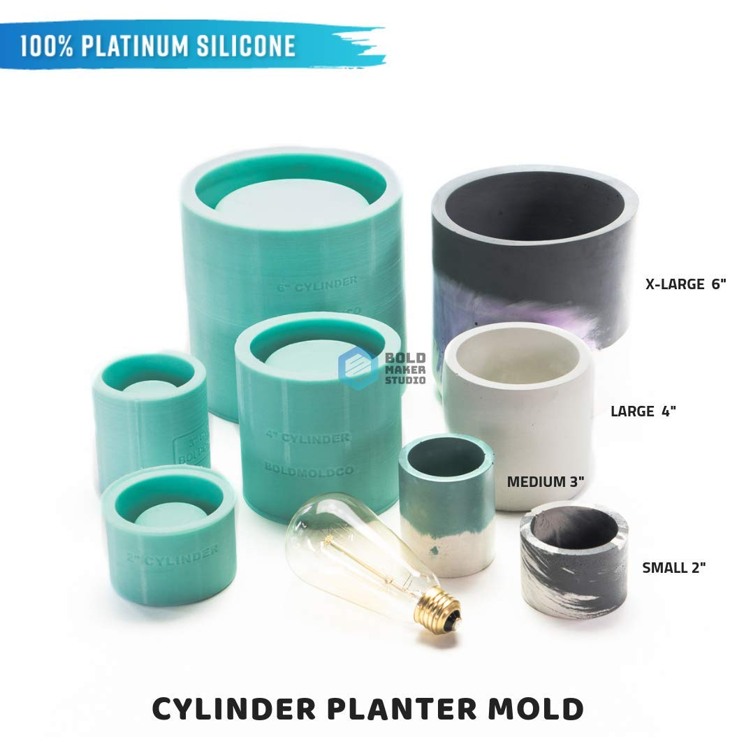 Bold Maker Studios: Cylinder Silicone Mold. DIY Planter Mold. Concrete Planter Mold, Clay Molds, Silicone Concrete Molds.