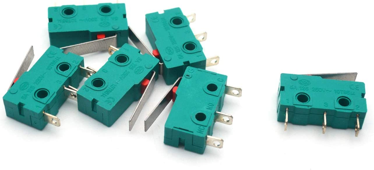 Antrader 6PCS KW4-3Z-3 Micro Switch KW4 Limit Switch 3pin 5A 125V Hinge Lever DC N/O N/C Switches for Mill CNC