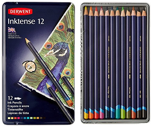Colored Permanent Pencil (Derwent Colored Pencils, Inktense Ink Pencils, Drawing, Art, Metal Tin, 12 Count (0700928))