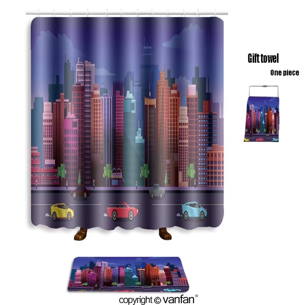 vanfan bath sets with Polyester rugs and shower curtain city game background d application vector des shower curtains sets bathroom 72 x 108 inches&31.5 x 19.7 inches(Free 1 towel and 12 hooks)