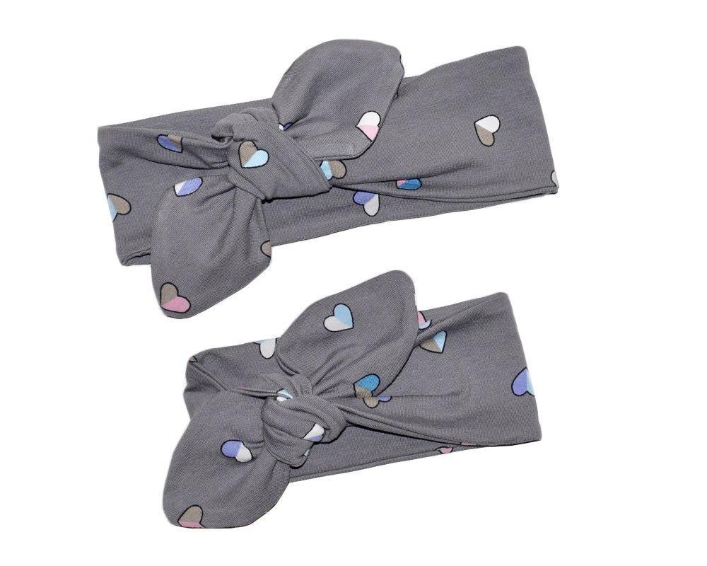 Fascia capelli cuori disponibile in taglia neonata, bambina, bimba e adulto, fatta a mano in tessuto di cotone, regalo perfetto per San Valentino, Mamma e io