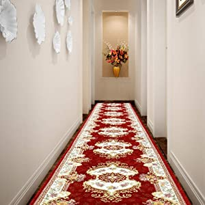 Chihen Jacquard Runner Rugs Contemporary Printed Carpet Floral Throw Mat for Hallway Entryway Home Decor Multi Size (Color : RF, Size : 5'3''(W) X9'10''(L))