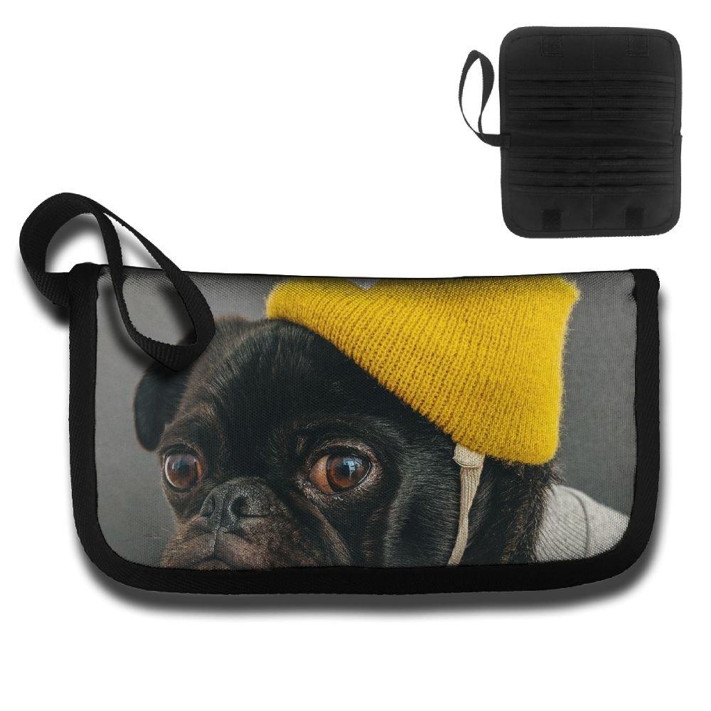 Gili Black Puppy Wearing A Yellow Hat Travel Passport /& Document Organizer Zipper Case