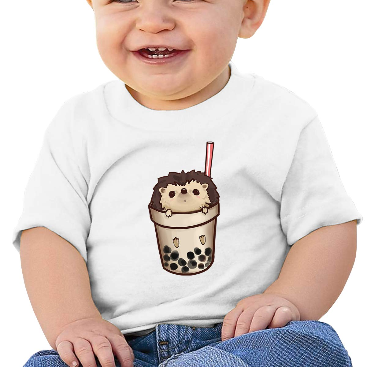 SakanpoBoba Hedgehog Toddler//Infant Short Sleeve Cotton T Shirts White