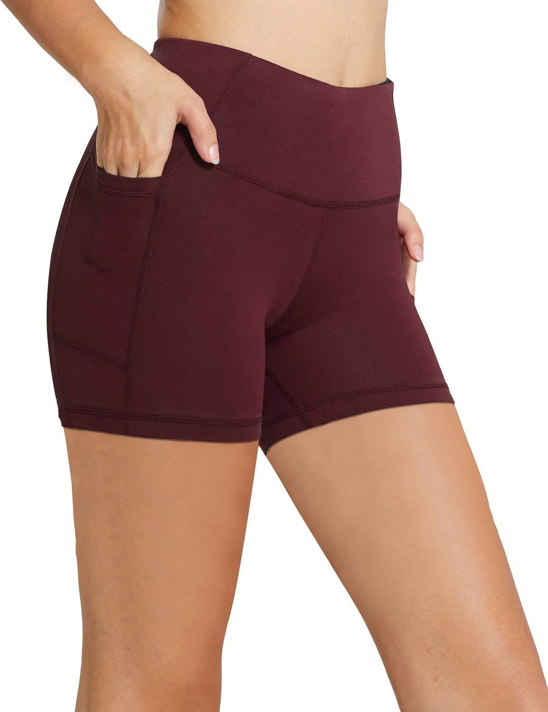 Baleaf Women's 5'' High Waist Workout Yoga Shorts Tummy Control Side Pockets Ruby Wine XS