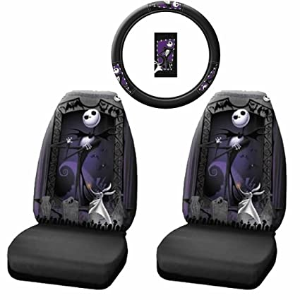 3pc nightmare before christmas jack skellington steering wheel cover seat covers set new - Nightmare Before Christmas Steering Wheel Cover
