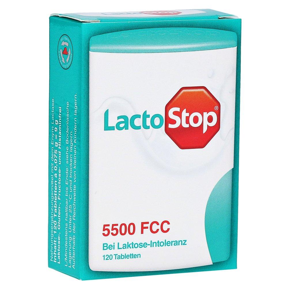 LactoStop 5.500 FCC Tablets Click Dispenser 120 Pcs - Improves Lactose Digestion - Lactase Enzyme - Clicks - Portable - Lactose Intolerance - Easy to Use - All Ages - Health Care - Austria