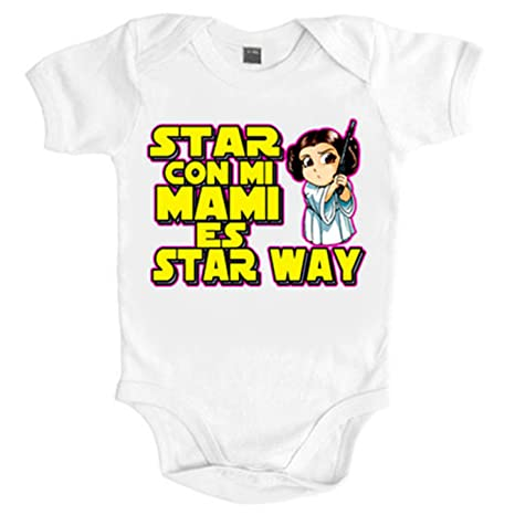 Body bebé Star Wars estar con mi mami es Star Way Princesa Leia - Blanco,