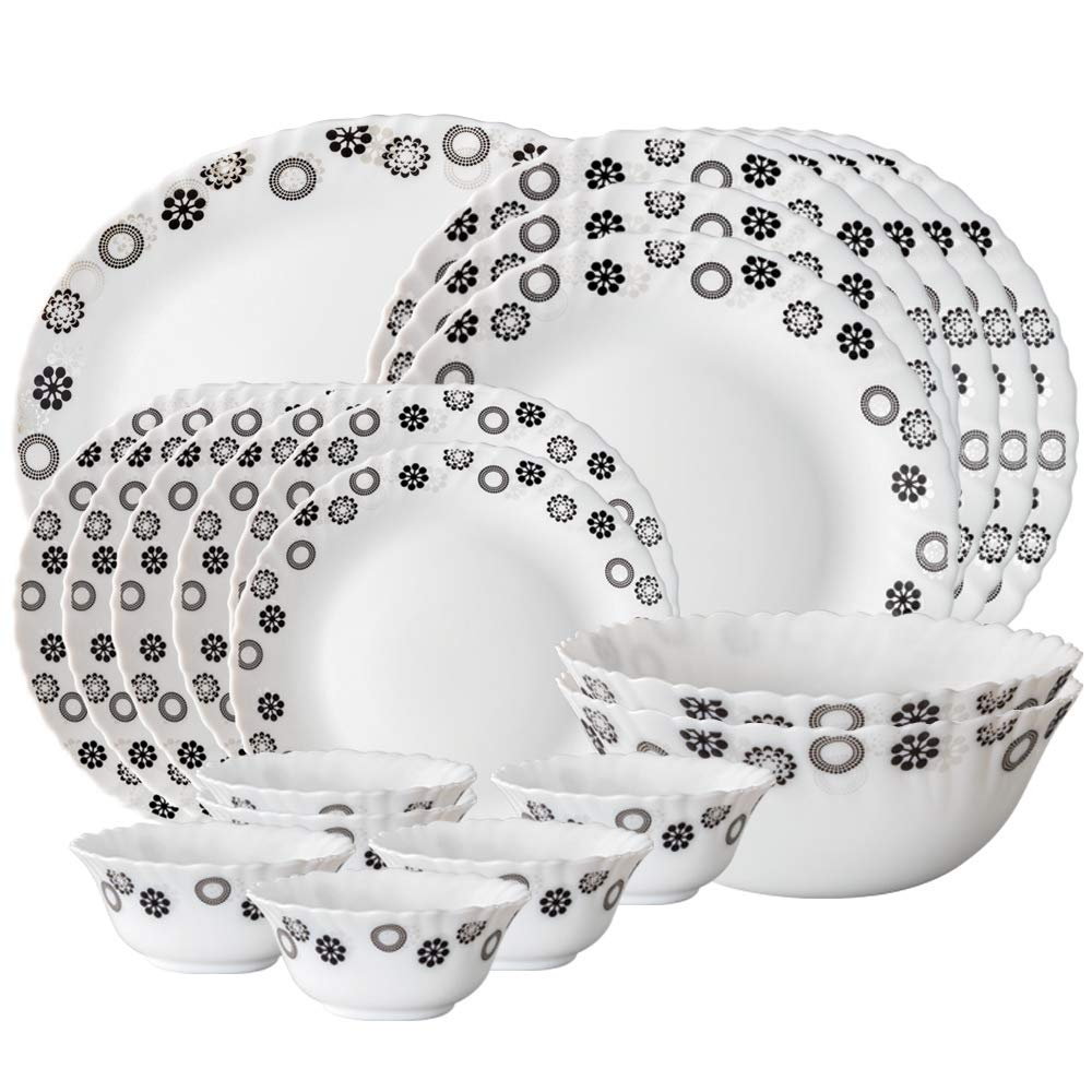 Larah By Borosil Universe Opalware Dinner Set, 21-Pieces, White
