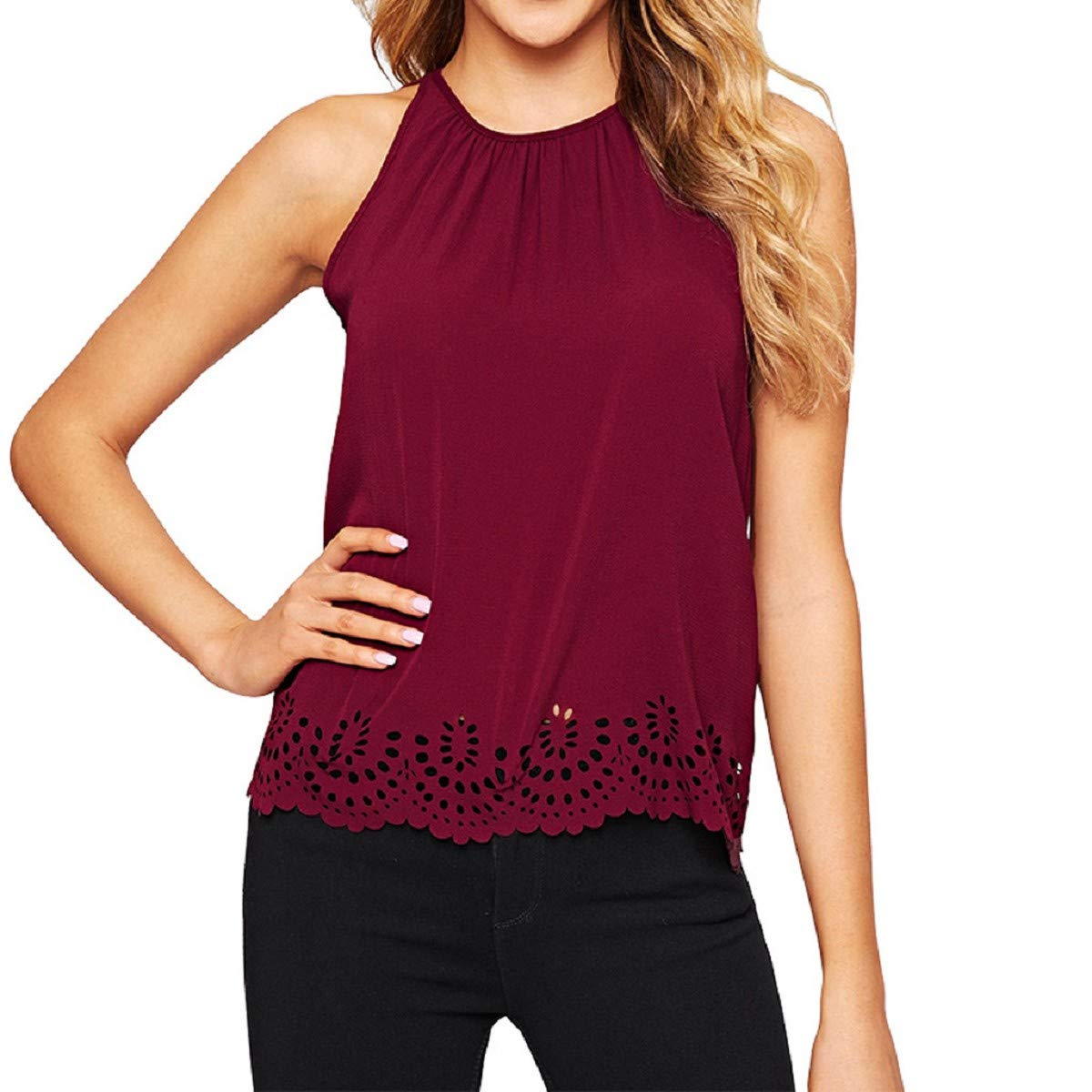 Fashion Women Solid O-Neck Off Shoulder Sleeveless Hollow Out Crop Tank Top Blouse OTINICE Red