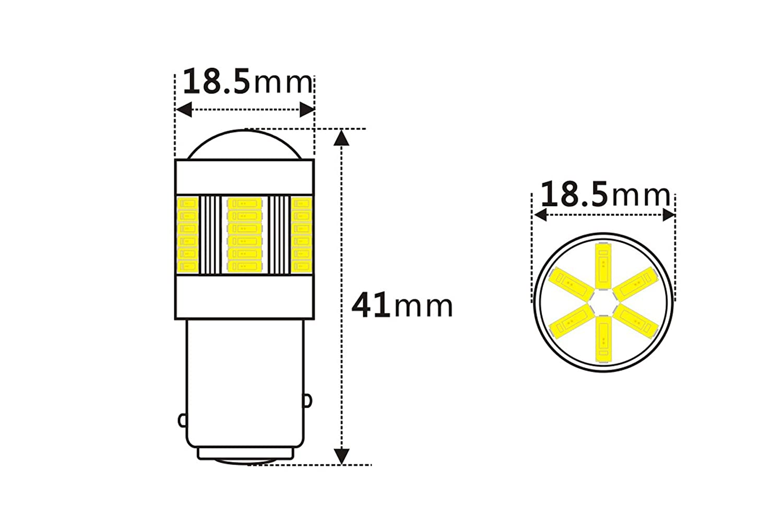 Real Indicator Light LED EAGLE Canbus 7443 DualColor 16 LEDs 3030 SMD 12-24V for Brake Light Rear Fog Light Rear Turning Light Reversing Light