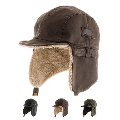 76830b47724 Ultrafino Best Pilot Trooper Aviator Cap Faux Leather Hat Ushanka Trapper  Winter All Sizes - Brown -  Amazon.co.uk  Clothing