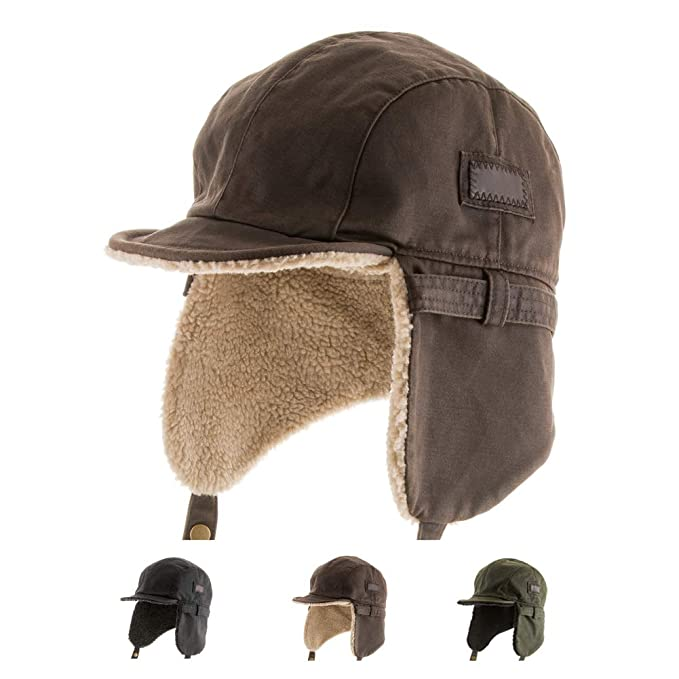 Best PILOT TROOPER Brown Shell AVIATOR Faux Leather Hat USHANKA Trapper Men  and Women 7 1 8  Amazon.in  Clothing   Accessories 6d866c1a319