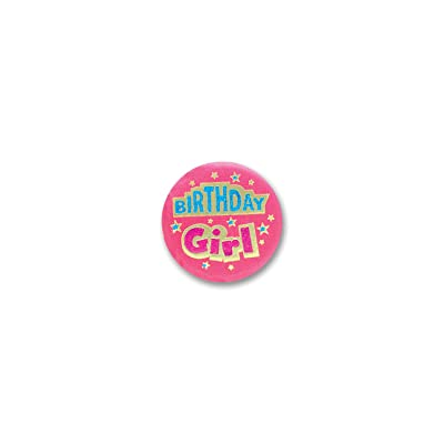 Beistle Birthday Girl Satin Button: Toys & Games