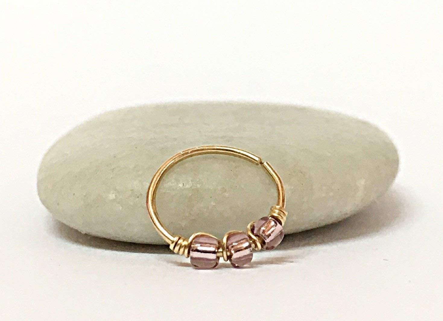 14K Yellow Rose Solid Gold Helix Earring Daith Cartilage Hoop Piercing Ring