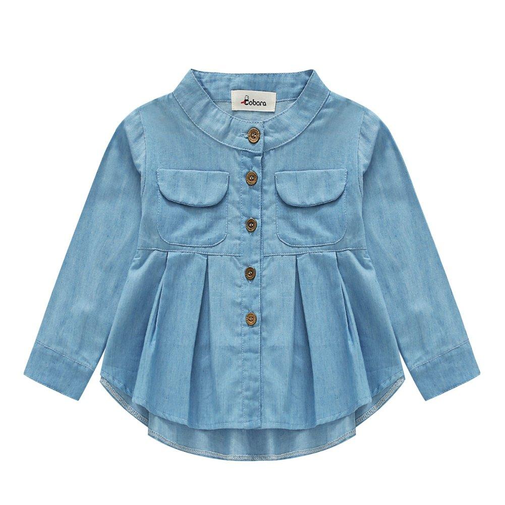 PanDaDa Baby Girls Autumn Long Sleeve Ruffled Hem Denim Blouses T Shirt Tops 1-7 Years YHL-0143