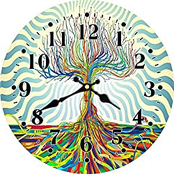 MEISTAR Creative Abstract Art Wall Clock,16 Inch Big Modern Style Wooden Colorful Tree Decoration Wall Clock for Kitchen,Office,Dining Room,Coffee Bar