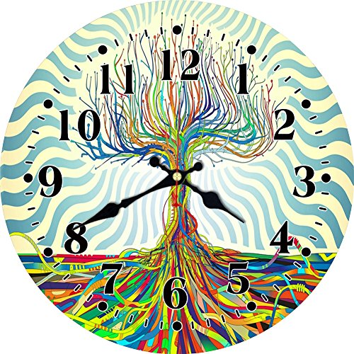 MEISTAR 14 Inch Large Wooden Wall Clock,Modern Abstract Style Colorful Tree Arabic Numerals Bedroom,Living Room Wall Clock,Battery Operated Wall ()