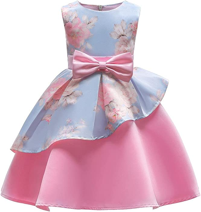 Viahwyt 2018 NEWEST Dreamlike Cinderella Clothing Toddler Kids Children Baby Girls Sleeveless Floral Bowknot Pageant Birthday Party Wedding Princess Dress Outfits