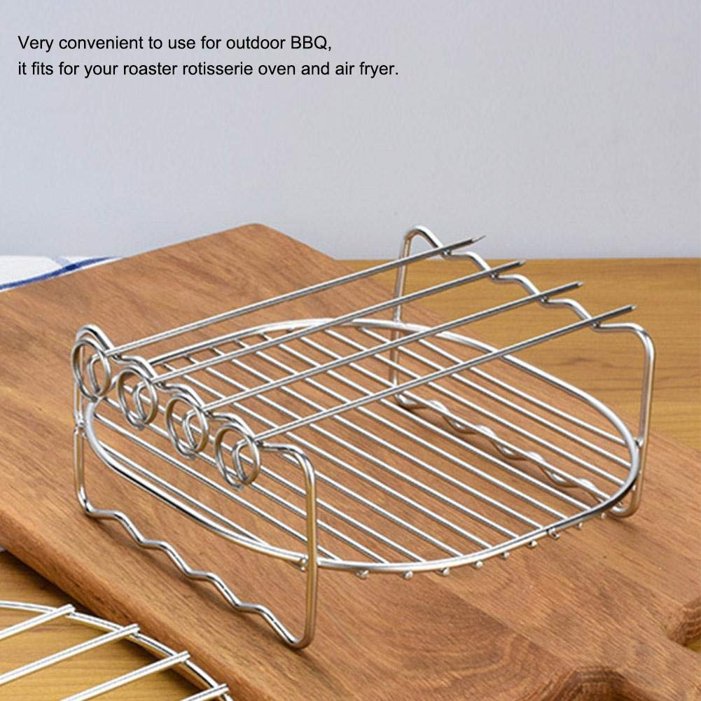 17.5 * 17.5 * 7.5 cm Asixx Air Fryer Accessories Stainless Steel Double Layer BBQ Grill Rack with 4 Skewers for Air Fryer HD9232