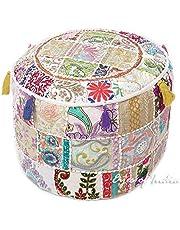 GANESHAM Indian Home Decor Hippie Patchwork Bean Bag Boho Bohemian Hand Embroidered Ethnic Handmade Pouf Ottoman Vintage Cotton Floor Pillow & Cushion