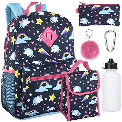 Girl's 6 in 1 Backpack Set Including A Backpack, Lunch Bag, Pencil Case,Water Bottle, Pom Pom Keychain, And Clip (Unicorn)