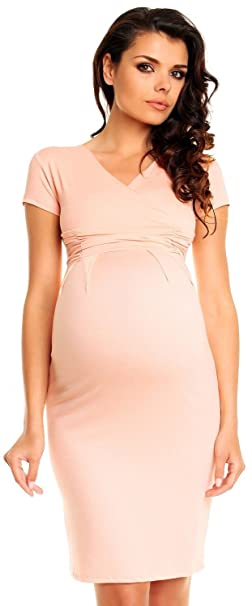 Zeta Ville Womens Pregnancy Maternity Summer Casual Stretch Pencil Dress 573c (Apricot, ...