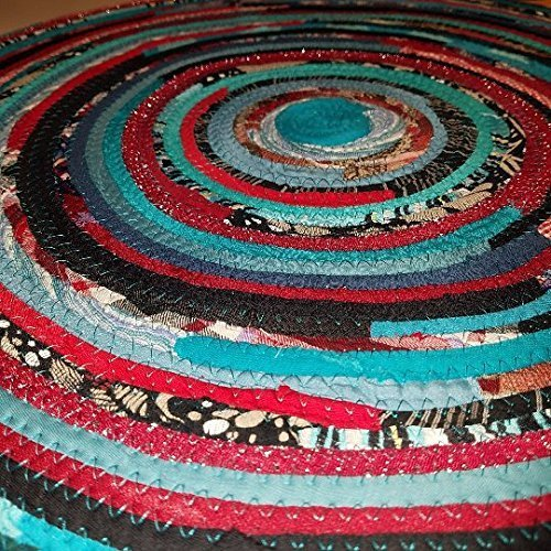 gypsy boho bohemian upcycled 2/' colorful round rug handmade to order You Choose Colors