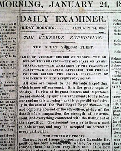 Rare Confederate Va W  Battle Of Mill Springs Kentucky 1862 Civil War Newspaper Daily Richmond Examiner  Virginia  January 24  1862