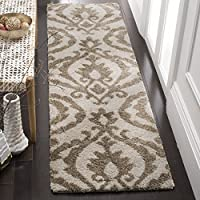 Safavieh Florida Shag Collection SG469-1113 Cream and Beige Runner (23 x 8)
