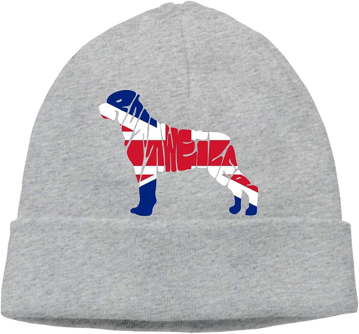 BF5Y3z/&MA British Flag Rottweiler Dog Beanie Hat for Men Women,Warm Cozy Knitting Hat Skull Cap