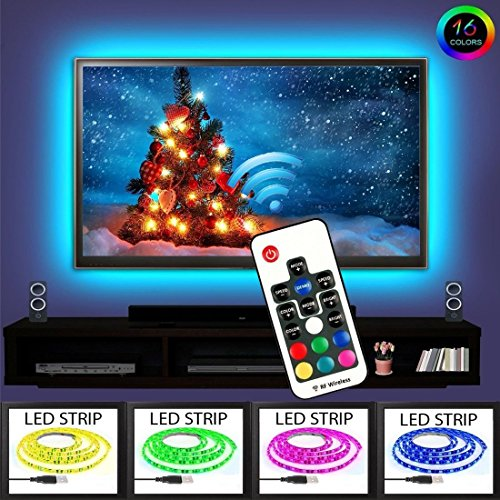 EveShine Neon Accent LED Strips Bias Backlight RGB Lights with Remote Control for HDTV, Flat Screen TV Accessories and Desktop PC, Multi Color ()