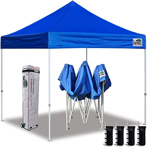 Eurmax 10 x10 Ez Pop Up Canopy Tent Commercial Instant Canopies with Heavy Duty Roller Bag,Bonus 4 Sand Weights Bags Blue
