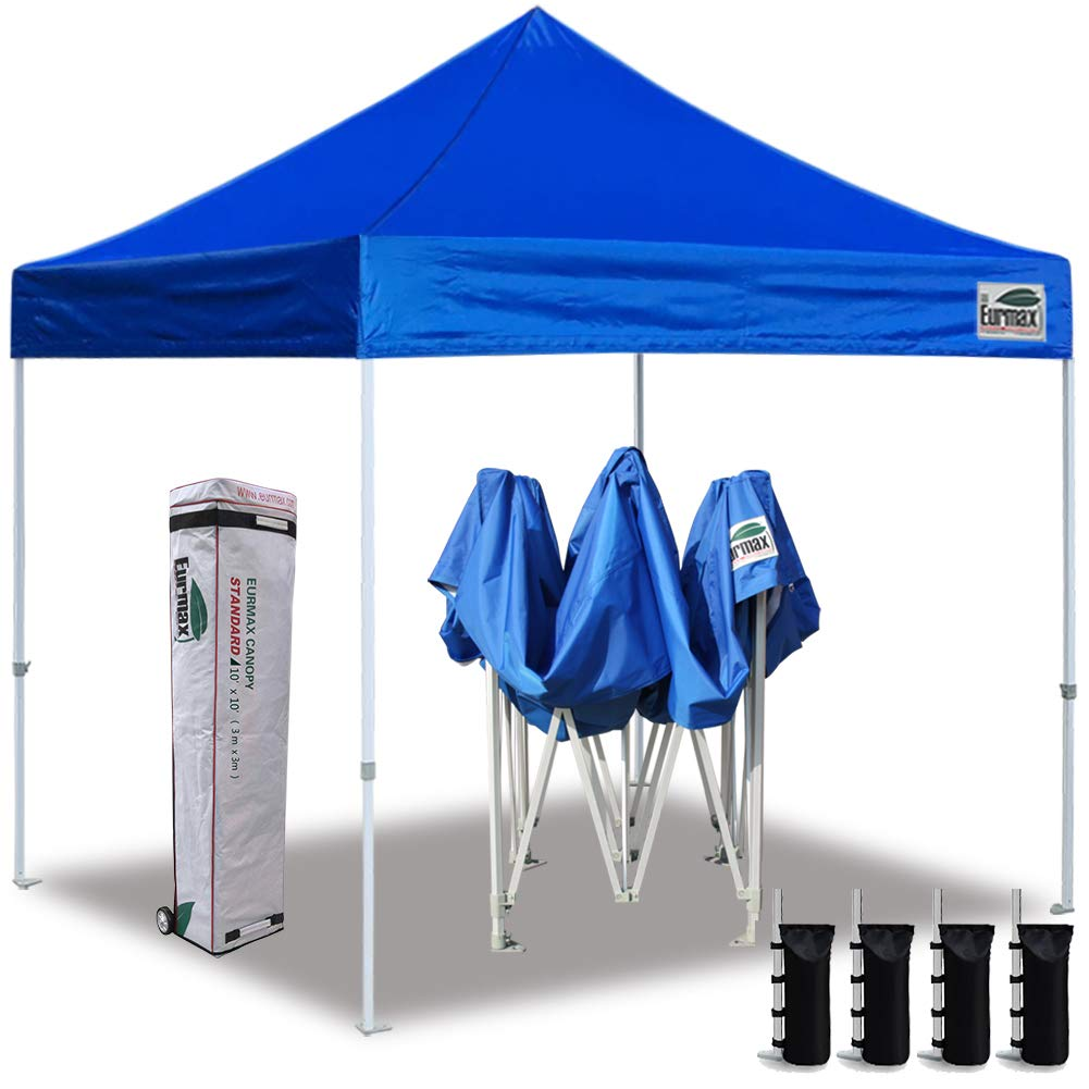Eurmax 10'x10' Ez Pop Up Canopy Tent Commercial Instant Canopies with Heavy Duty Roller Bag,Bonus 4 Sand Weights Bags (Blue) by Eurmax