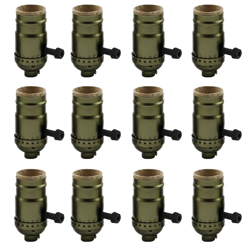 AAF Antique Bronze Turn Knob Screw Lamp Holder, Diy Light Socket E26 / E27 Base, Pack Of 12 by AAF