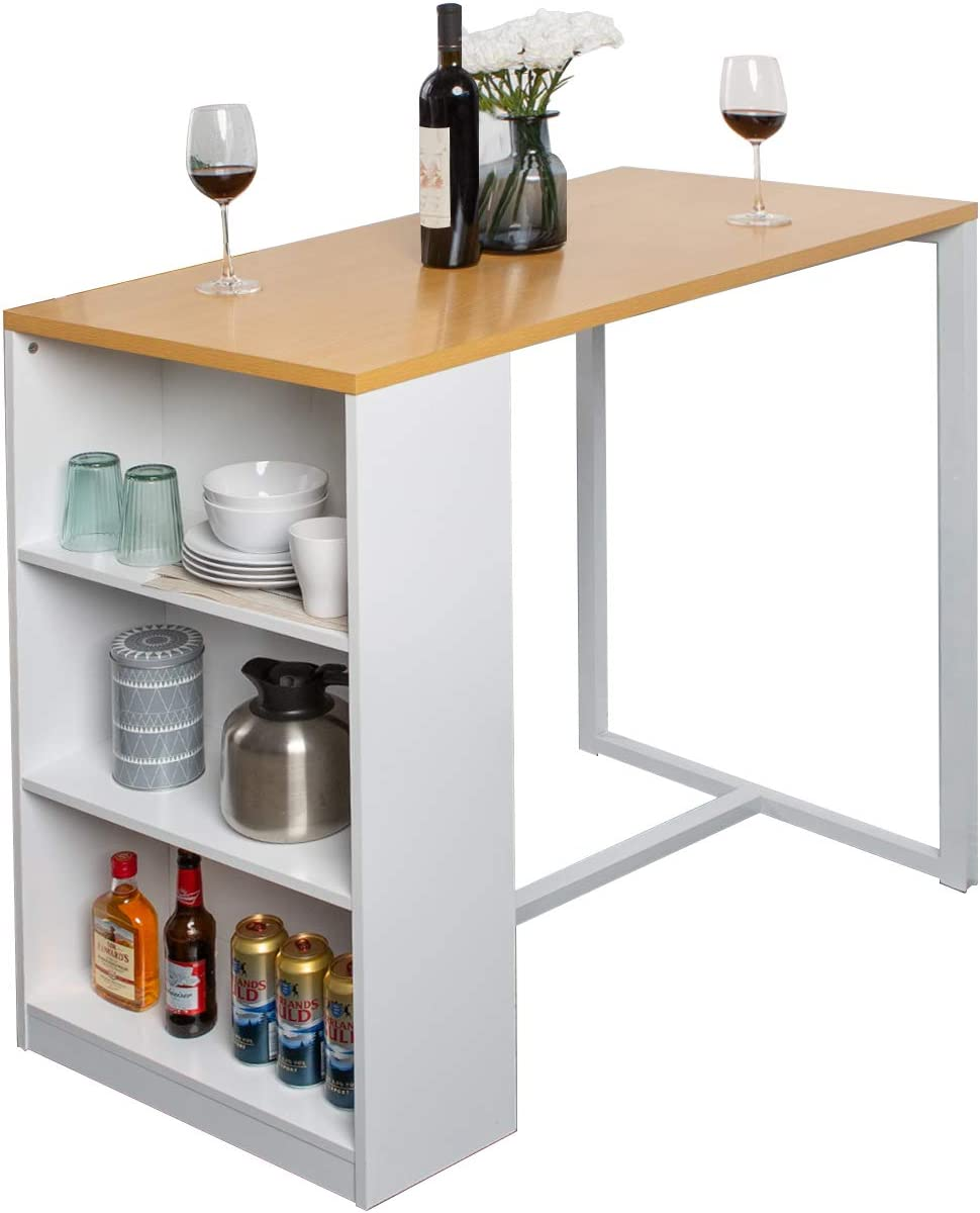 Soges Kitchen Counter Height Dining Table 9 inches Pub Table with Storage  Shelves, Bar Table GCBG9