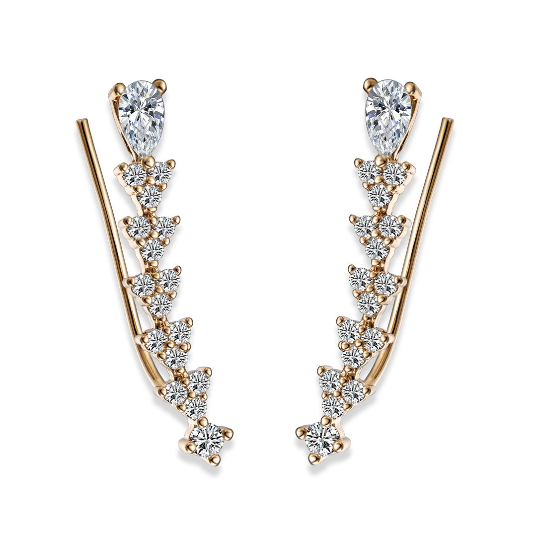 EAR VINES Ear Cuff Pin Cubic Zirconia Ear Crawlers Climbers 1 Pair (Gold) earvine36