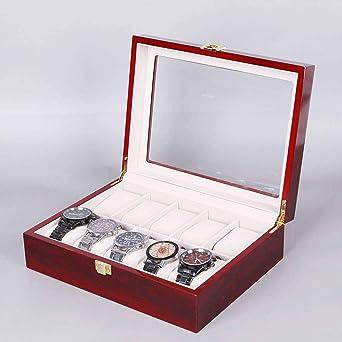 Caja De Reloj,Estuche para Relojes Tapa De Cristal Madera Pintar Mirar Soporte De Exhibición Caja De Almacenamiento Pulsera Organizador De Joyas para Hombres Y Mujeres Elegante - 5: Amazon.es: Relojes