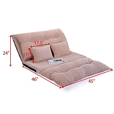 JAXPETY Adjustable Folding Leisure Sofa Bed Video Gaming Sofa W/Two Pillows (Pink)