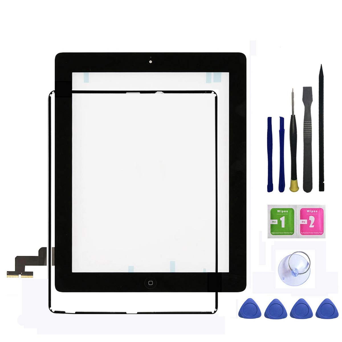 IPad 2 Screen Replacement,FeiyueTech New Black iPad 2 Digitizer Touch Screen Front Glass Assembly - Includes Home Button + Camera Holder +Frame Bezel+ PreInstalled Adhesive with Tools kit