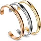 ZUOBAO Stainless Steel Bracelet Grooved Cuff Bangle for Women Girls
